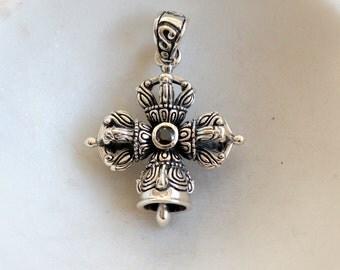 Sterling Silver Tibetan Bell and Dorje Pendant,Silver Bell and Dorje, Double Dorje Pendant,Buddhist, Dorje,Vajra Cross,Silver Bell,GS16-004