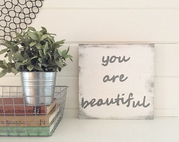 You Are Beautiful Wood Sign Painted in Distressed White & Gray l You Are Beautiful Wall Sign