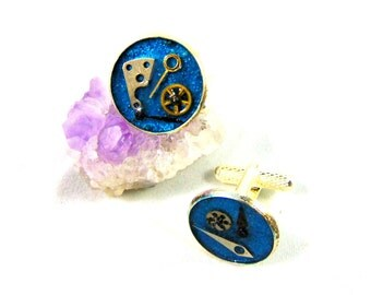 Cufflinks in silver plated steampunk old coins