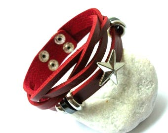 Leather burgundy red leather bracelet with a star