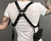 Black Leather Holster Harness Detachable Bag Pockets Heavy Metal Festival Wallet Unisex