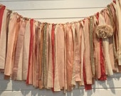 FABRIC GARLAND Ribbon BANNER // custom Garland, Shabby Chic, Romantic, Modern, Rustic, Handmade, Wedding, Nursery, Shower // You PiCK CoLoRs