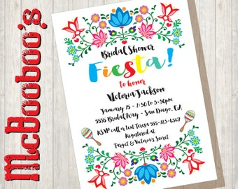 Folkart Mexican Fiesta Bridal Shower with colorful flowers