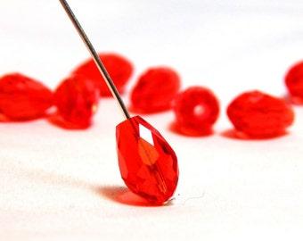 6 Red Teardrop Beads, Red Teardrop Beads, Red Crystal Teardrops, Red Drop Beads, Crystal Drop Beads, Red Beads, Red Crystal Beads, T-96C