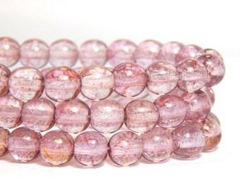 6mm Pink Glass Beads, Pink Beads, Semi-Transparent Pink Beads, Pink Glass Beads, 6mm Rose Gold Beads, 6mm Glass Beads, 6mm Beads, T-21B