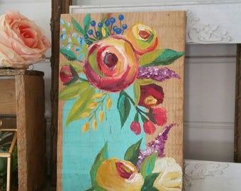 Hand painted florals and mason jar