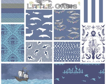 Little Oasis Custom Crib Bedding; Nautical Whale, Sailor, Ocean; Choose: blanket, quilt, sheet, skirt, changing cover, pillow, rail cover