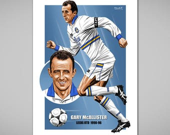 GARY MCALLISTER Leeds Football Legend Giclee Art Print, 1994 Football Kit,Leeds & Scotland Football Captain,Football Gift