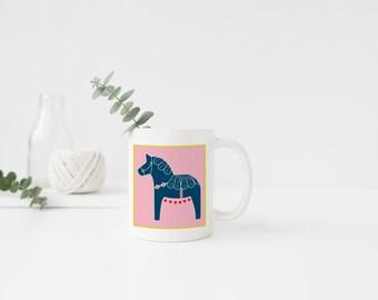 Pink Dala Horse Mug