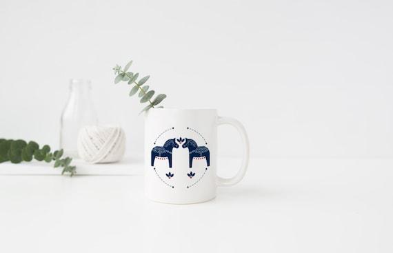 Swedish Dala Horse Mug (Traditional)