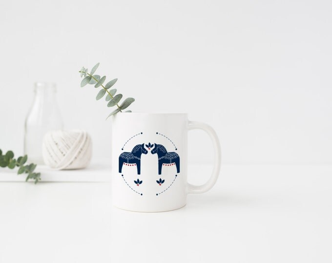 Swedish Dala Horse Mug (Traditional)