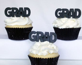 12 GRAD Graduation Cupcake Rings Toppers Party Favors