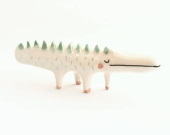 Ceramic Crocodile Miniature, Crocodile Totem, Ceramic Animal, in White Clay and Decorated with Pigments in Green. Ready To Ship