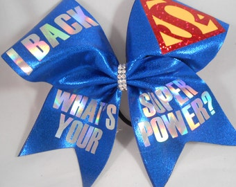 Cheer bow iBack Back  Whats Your SUPERPOWER ? by BlingItOnCheerBowz