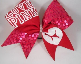 Cheer Bow Love Pink by blingitoncheerbowz