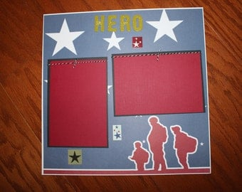12 x 12 Military Scrapbook premade layout titled Hero - premade scrapbook layout - military scrapbook layout