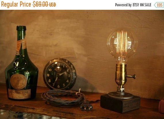 25% OFF SALE Dimming lamp Industrial Lighting - Steampunk Lamp - Table Lamp - Edison Light - Vintage Light - Pipe Lamp - Bedside Lamp - Rust