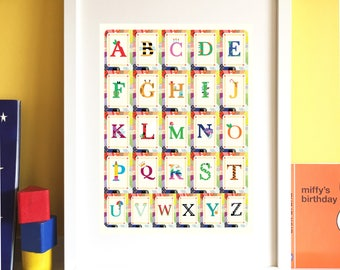 Alphabet Print, Alphabet Art, Children's alphabet, Educational print, Nursery art, Children's bedroom print, Playroom print.
