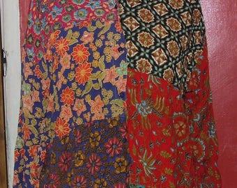 1970's Hippy Boho Patchwork Colours VINTAGE/RETRO Size 14 Ladies Blouse
