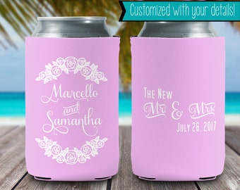 New Mr & Mrs - Can Cooler - Can Insulator - Can Holder - Beer - Wedding Favor - Party Favor