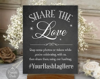 Printable Social Media Wedding Sign, Chalkboard Style, Share The Love, Instagram Hashtag Sign (#SOC1C)