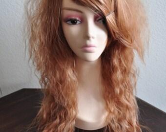 Die Pretty Crimped Hime Gyaru Layered Wig in Golden Brown