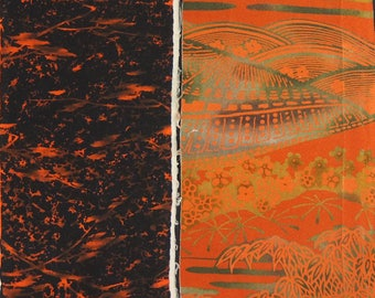 Vintage kimono silk fabric-2 pcs #7458