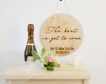 Rustic wedding wall art / wood/timber decor personalised with couples name / the best is yet to come / decor couple wedding gift