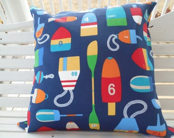 Outdoor Beach Pillow Cover Nautical Decorative Patio Porch Throw Pillow  Cushion Buoy Oar Navy Red Turquoise