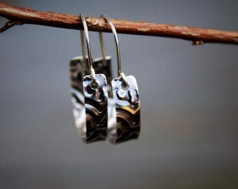 Textured 925 Sterling Silver Hoops