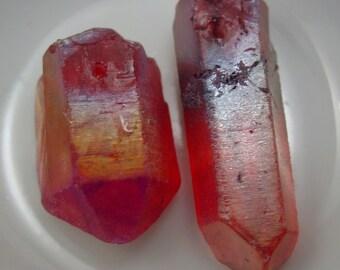 Titanium Plated Fuchsia Quartz Stick Irregular Cut Beads BoHo Chic! - 2 Beads #7381