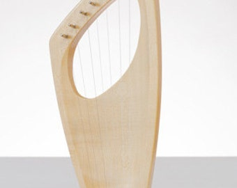 New Product** Children WOOD HARP/LYRE Original Hand Made - 7 Strings Pentatonic scale Open Base - Maple Wood Tuning key