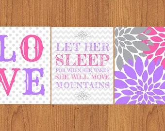Let Her Sleep For When She Wakes She Will Move Mountains Pink Purple Grey LOVE Floral Bloom Flowers Nursery Wall Art Set of 3 (35)