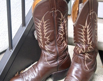 Nocona Used Brown Leather Cowboy Boots 10.5 B