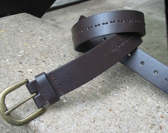 Mens Used Brown Leather Belt Size 38