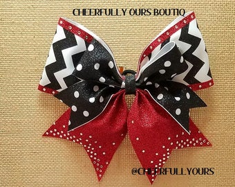 Best and Trending Customized Unique Sparkle Glitter Cheer Bows with Rhinestones by CHEERFULLY OURS BOUTIQ