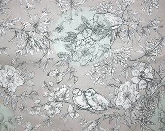Fabric - Rico - Grey and mint line art birds - woven cotton