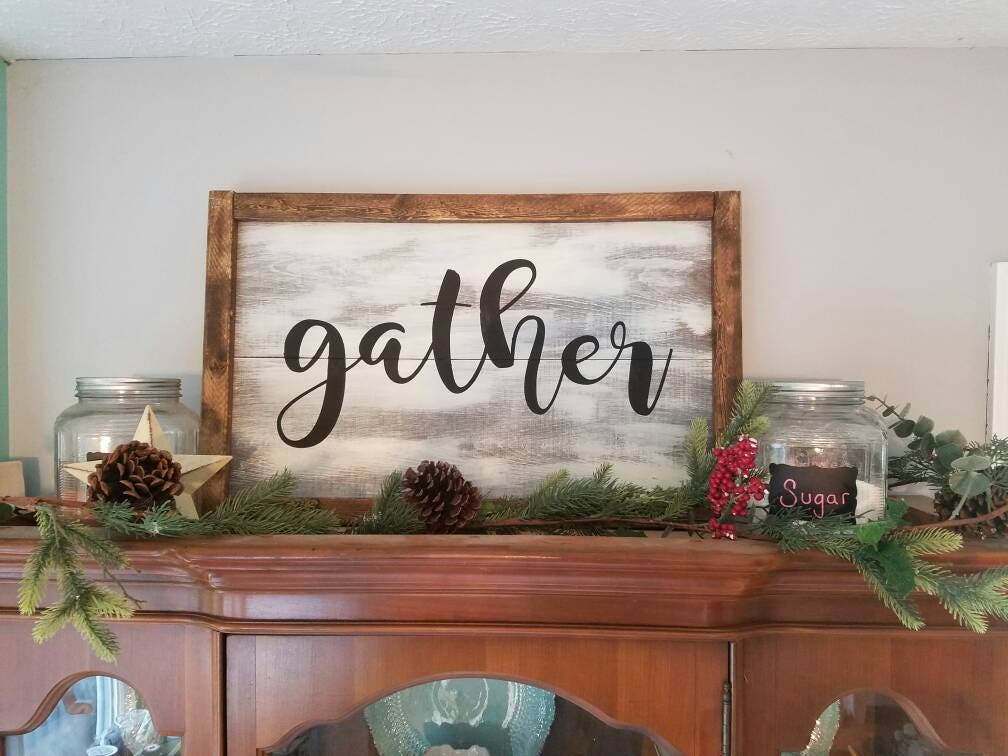 Gather sign, 30x20 hand painted with wood frame. Farmhouse large ...