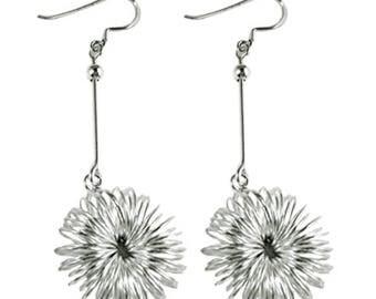 Silver earrings 925 Silver earrings jewelry flower filigree bar ladies (No. OS 219A)