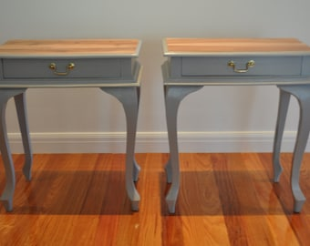 S O L D - Bedside Tables - 2 - 1 drawer, brass handle, grey, Queen Anne, Vintage, Antique