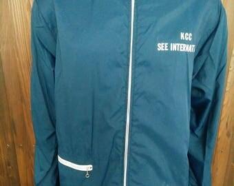Vintage KCC SEE International windbreaker blue jacket size L made in Thailand by Rainbow Sportswear