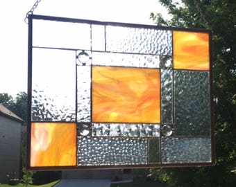Bold and Beautiful Jeweled Spring Stained Glass Panel ***Ready to Ship***