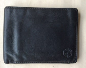 Vintage black leather pocket wallet, billfold wallet.