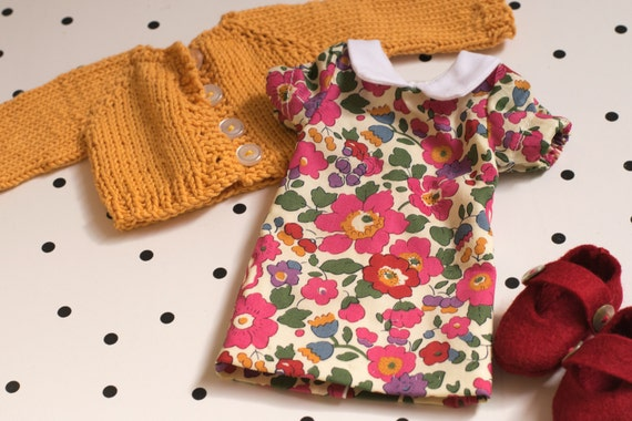 "Liberty Fabric Doll Dress set for 14"" doll"