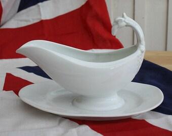 White Ironstone / French Gravy Boat / French Farmhouse / French Ironstone / White Ceramic / Kitchenalia / French decor