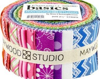"KimberBell Basics Colors; 2.5"" Fabric Strips; 40 pcs; Pre-Cut Fabric Bundle; Maywood Studio; ST-MASKIB-COL; KimberBell Fabric"