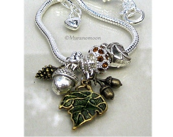 Fall Bracelet Leaf Acorn Pinecone European Style Charm Bracelet Autumn Fall Nature Crystal Dangle Charm European Bracelet Gift For #CBR1026