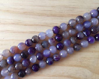 Faceted Purple Agate, 12 mm, 16 inch strand