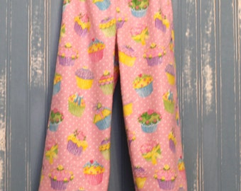 Girls Flannel Pajama Bottoms, Handmade, Winter Wear,Warm girls sleep Wear,Cotton Flannel, Pink with Cup Cakes Design