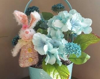 Easter Flower Basket, Easter Decor, Aqua Hydrangeas, Floral Centerpiece, Tabletop Decor, Metal Basket, Easter Bunny, Easter Decoration